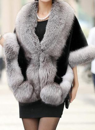 3/4 Sleeves Collarless Fur Coats (131285761)