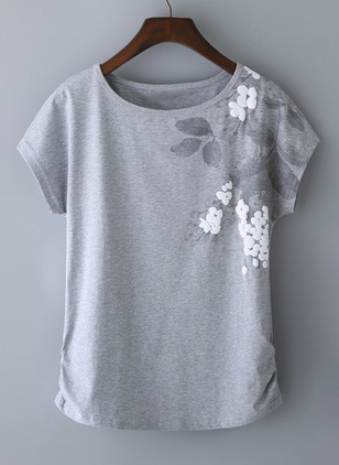 Cotton Floral Boat Neckline Short Sleeve T-shirts