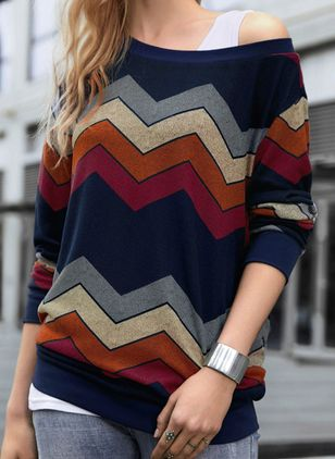 Geometric Casual Oblique Neckline 3/4 Sleeves Blouses