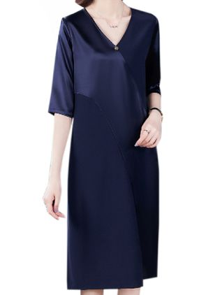 Casual Solid Tunic V-Neckline Shift Dress (6211700)
