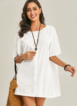Casual Solid Tunic Round Neckline Shift Dress (1321180)