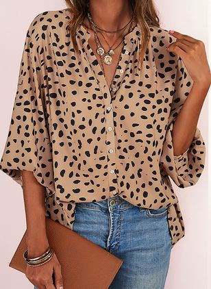 Polka Dot Casual V-Neckline 3/4 Sleeves Blouses (2200322)