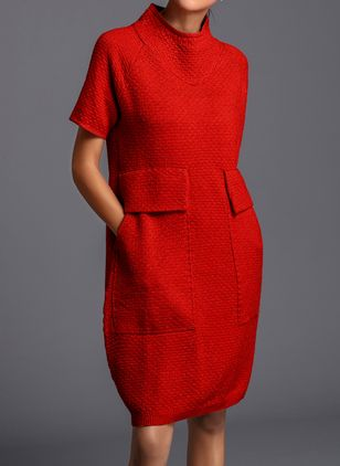 Solid Pockets Sweater Knee-Length Shift Dress