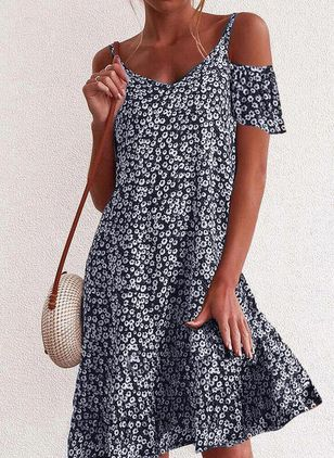 Elegant Floral Tunic Camisole Neckline Shift Dress (4395502)