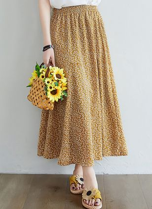 Floral Maxi Casual Pattern Skirts (147152068)