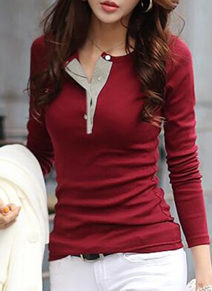 Polyester Solid V-Neckline Long Sleeve Sexy T-shirts