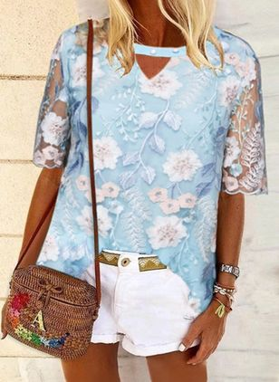 Floral Casual Round Neckline Half Sleeve Blouses (4228663)