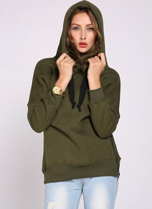 Solid Casual Polyester Hooded Zipper Sweatshirts