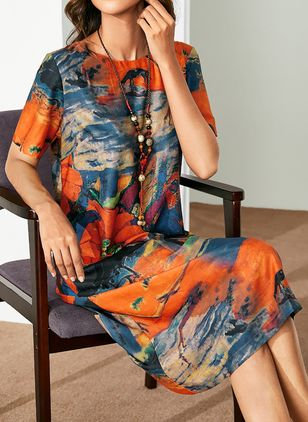 Elegant Floral Tunic Round Neckline Shift Dress (1299517)