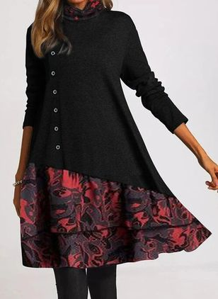 Casual Floral Tunic High Neckline A-line Dress (112601868)