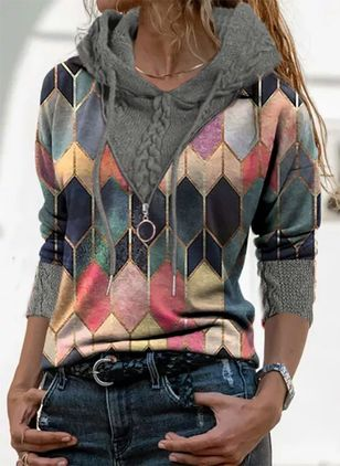 Round Neckline Geometric Casual Regular Zipper Sweaters (146762006)