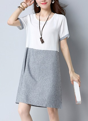 Cotton Color Block Short Sleeve Above Knee Casual Dresses  ...