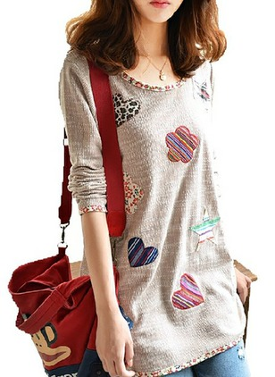 Cotton Floral Round Neck Long Sleeve Casual T-shirts