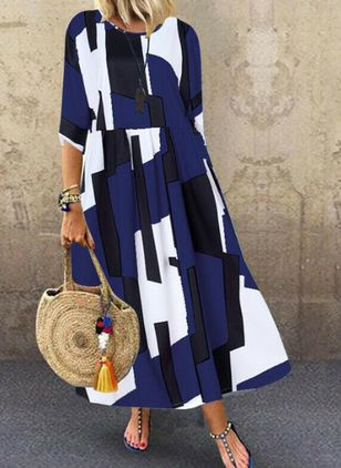 Tunic Color Block Round Neckline Casual Maxi Plus Dress (4049212)