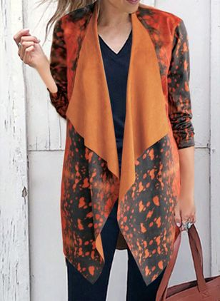 Long Sleeve Collarless Coats (100668376)