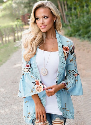 Floral Casual Others 3/4 Sleeves Blouses
