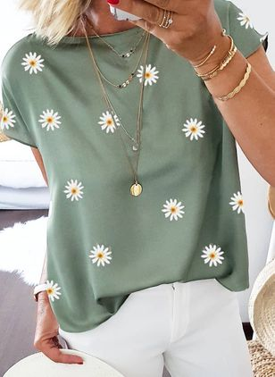 Floral Round Neck Short Sleeve Casual T-shirts (4089216)