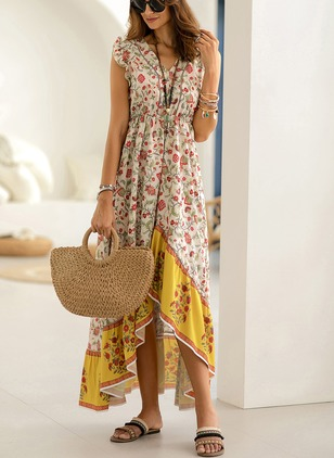 Floral Peasant Cap Sleeve High Low Shift Dress