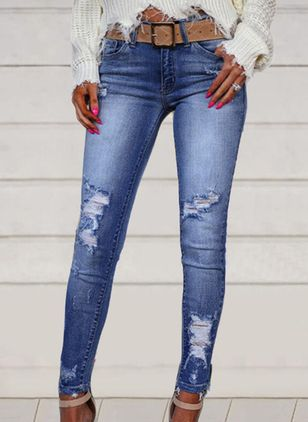 Casual Skinny Hollow Out Buttons Zipper Pockets Mid Waist Polyester Jeans Pants (146913321)
