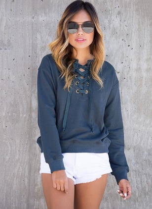 Solid Casual Cotton Round Neckline Hollow Out Sweatshirts