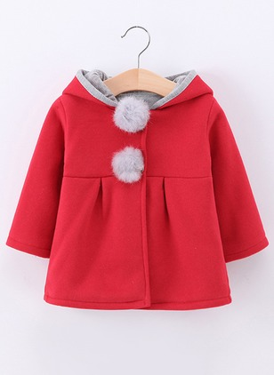 Girls' Solid Hooded Coats