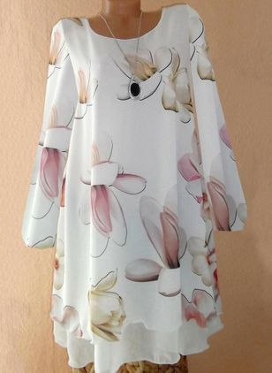 Elegant Floral Tunic Round Neckline Shift Dress (5999979)