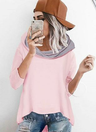 Hooded Color Block Loose Long None Sweaters