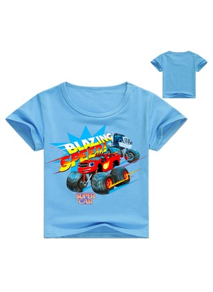 Boys' Alphabet Round Neckline Short Sleeve Tops