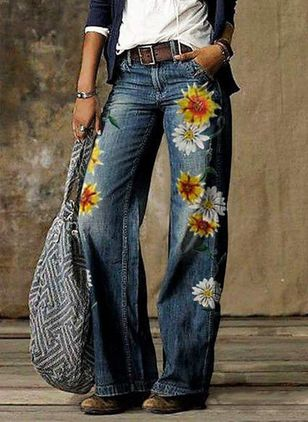 Casual Loose Pockets Mid Waist Polyester Jeans Pants (147414378)