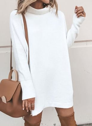 Round Neckline Solid Loose Long Sweaters (1272645)
