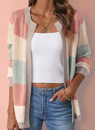 Round Neckline Color Block Casual Loose Shift Sweaters (1371630)