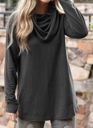 Solid Casual Draped Neckline Long Sleeve Blouses (108088323)
