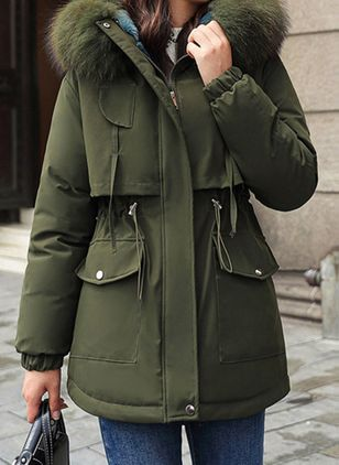 Long Sleeve Hooded Buttons Zipper Pockets Parkas Coats (109556187)