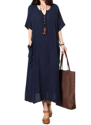 Plus Size Solid Pockets Half Sleeve Maxi Shift Dress