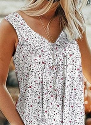 Floral V-Neckline Sleeveless Casual T-shirts (4040131)