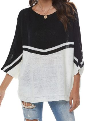 Round Neckline Color Block Casual Loose Regular Shift Sweaters (146712722)
