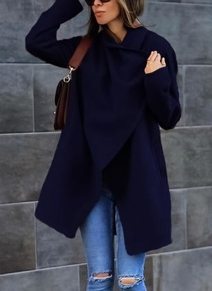 Long Sleeve Lapel Pockets Wrap Coats