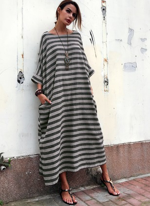 Cotton Blends Linen Stripe 3/4 Sleeves Maxi Casual Dresses