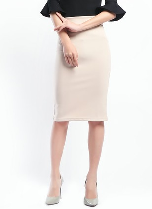 Chiffon Solid Knee-Length Casual None Skirts
