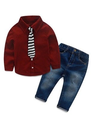 Boys' Casual Color Block School Long Sleeve Clothing Sets