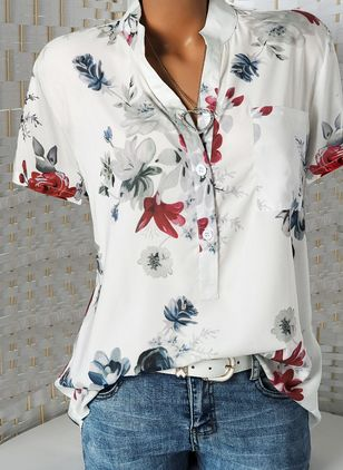 Floral Casual Stand Collar Short Sleeve, Blouses
