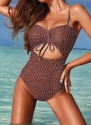 Polyester Dot Knotted One-piece Swimwear (146973321)