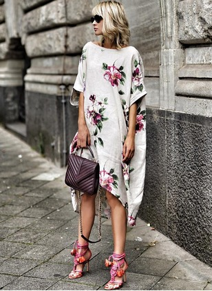 Cotton Floral Half Sleeve High Low Shift Dress