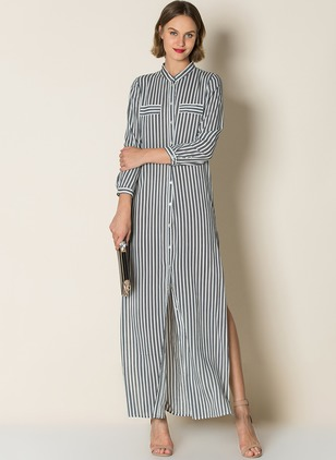 Polyester Stripe Long Sleeve Maxi Casual Dresses