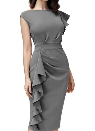 Casual Solid Pencil Round Neckline Bodycon Dress (100002253)