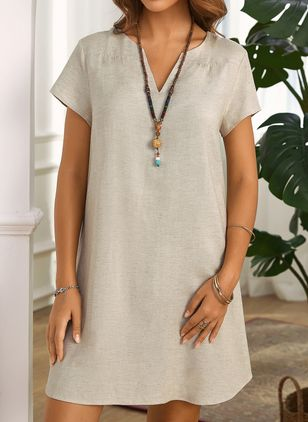 Casual Solid Tunic V-Neckline Shift Dress (1517870)