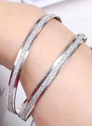 Casual Round No Stone Bangle Bracelets (6211646)