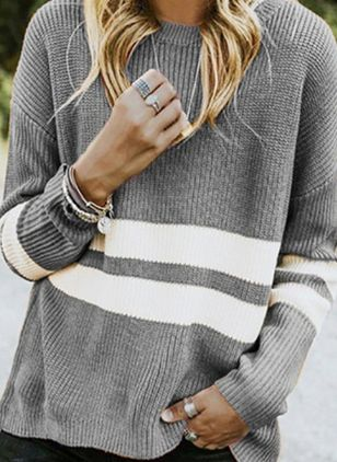 Round Neckline Color Block Casual Loose Regular Shift Sweaters (6211532)