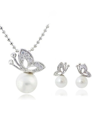 Ball Animal Pearls Necklace Earring Jewelry Sets