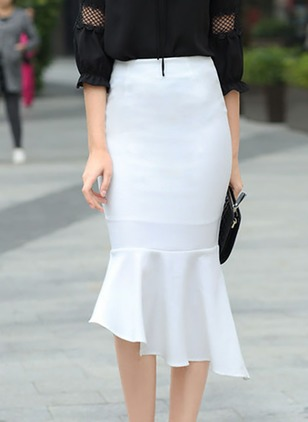 Polyester Solid Mid-Calf Elegant Ruffles Skirts